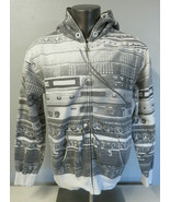Mens DC Shoes Full Zip Hoodie Sweatshirt Jacket Gray White Size XL Cotto... - $44.54