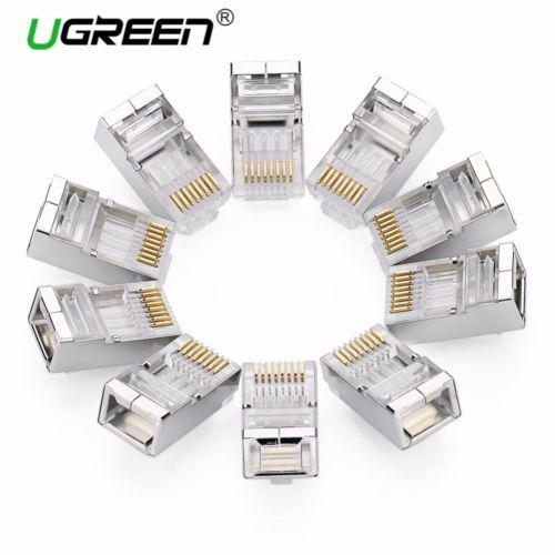 Ugreen Cat6 RJ45 Stecker 8P8C Modulare Ethernet-kabel Kopf Stecker vergoldet ...