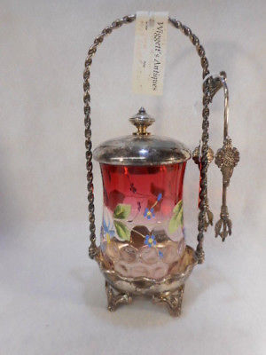 Antique Rubina Glass Handpainted Victorian Pickle Castor with Tongs Tufts Frame