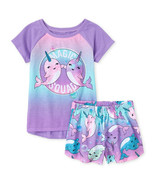 NWT The Childrens Place Narwhal Girls Purple Short Sleeve Pajamas Set - $10.99