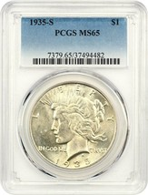 1935-S $1 PCGS MS65 - Satiny, Golden Gem - Peace Silver Dollar - $999.10