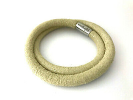 Brighton Woodstock Double Leather Bracelet, Linen, Size S, New - $37.99