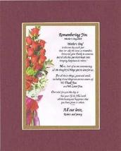 Personalized Touching and Heartfelt Poem for Mothers - Remembering You, ... - $22.72