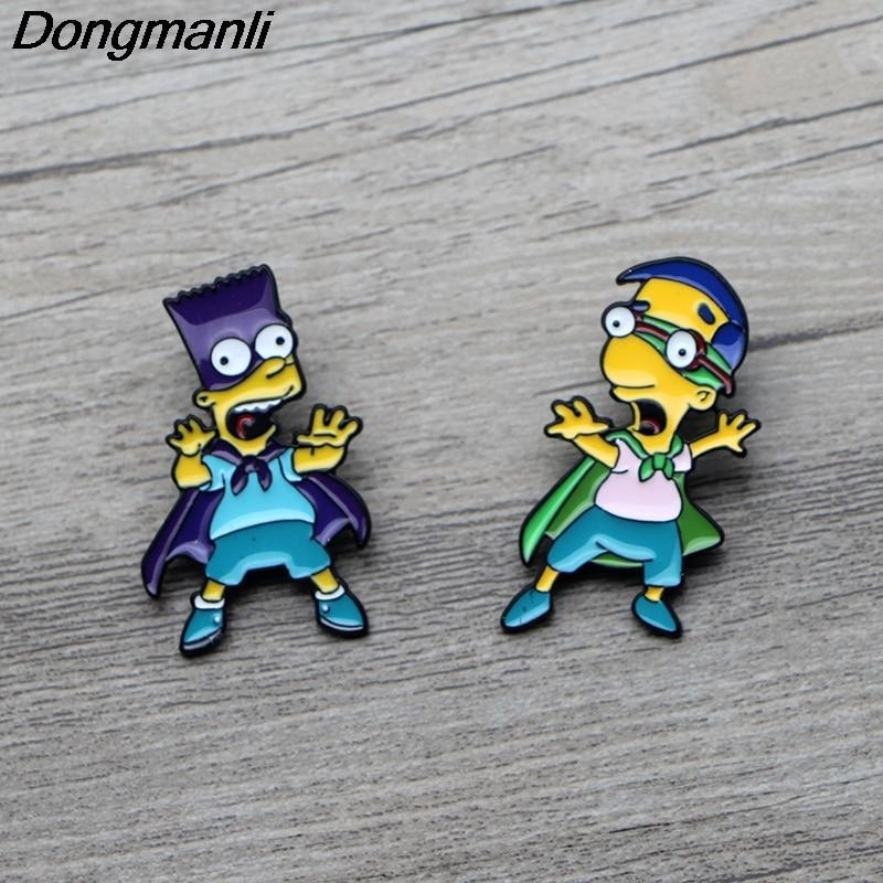 Primary image for Bart Simpsons Enamel Pin Brooches Cartoon Creative Metal Brooch Pins Denim Hat B