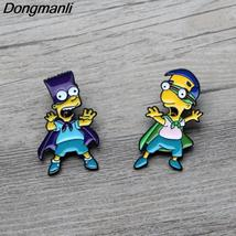 Bart Simpsons Enamel Pin Brooches Cartoon Creative Metal Brooch Pins Den... - $10.99