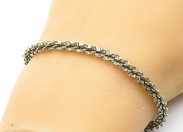 925 Sterling Silver - Vintage Petite Twist Designed Chain Bracelet - B6849 - $35.25