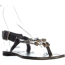 Steve Madden Foolish Flat Buckle Sandals, Black Multi, 7.5 US - $30.52