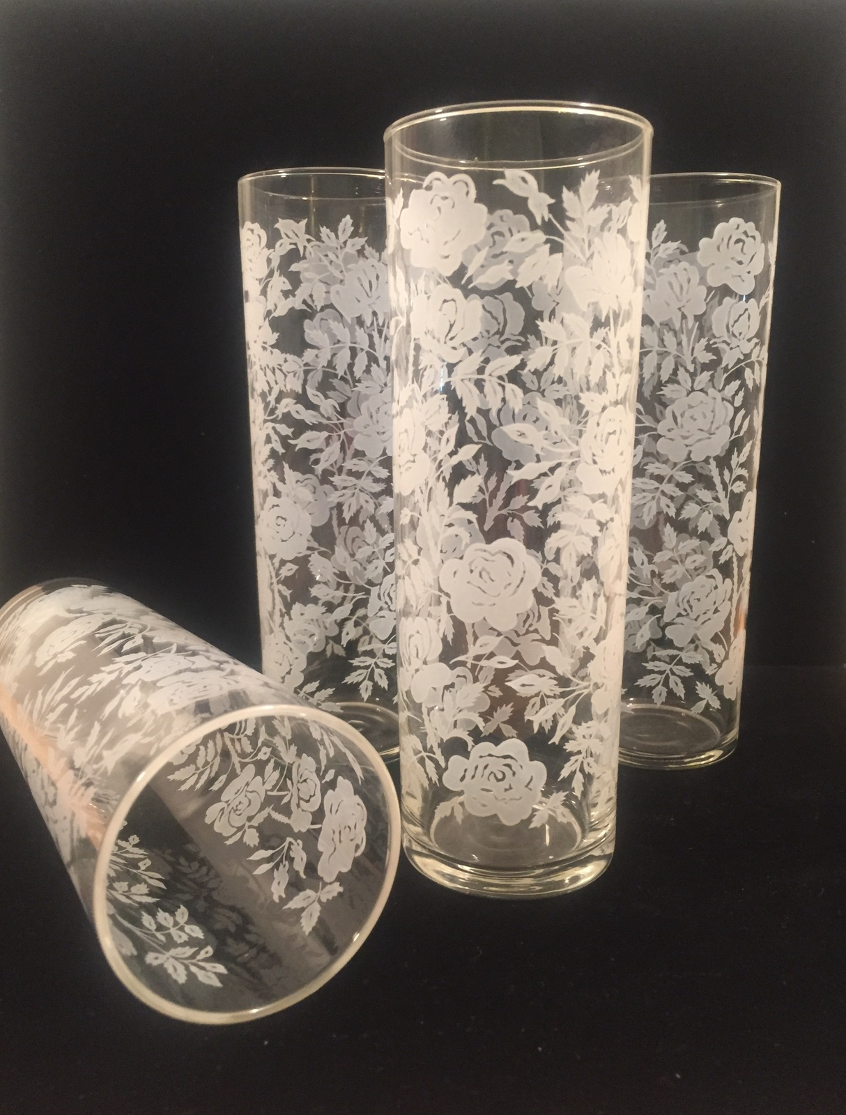 Vintage 70s Libbey White Roses pattern collins glasses set of 4
