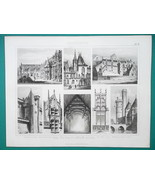 ARCHITECTURE in France Paris Bourges Rouen Brittany - 1870 Engraving Print - $16.20