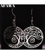 2020 Fashion Stainless Steel Tree of Life Drop Earrings Women Silver Col... - $9.01
