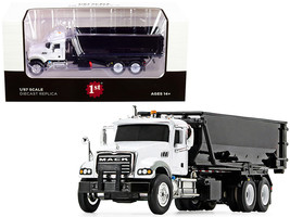Mack Granite with Tub-Style Roll-Off Container Dump Truck White and Black 1/87 D - $57.39