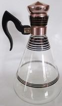 "Cory Inland Glass Retro Copper Accent Coffee Carafe 10"" Tall Mid Century... - $19.99"