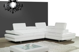 J&M A761 White Full Top Grain Leather Italian Sectional Sofa Modern Right