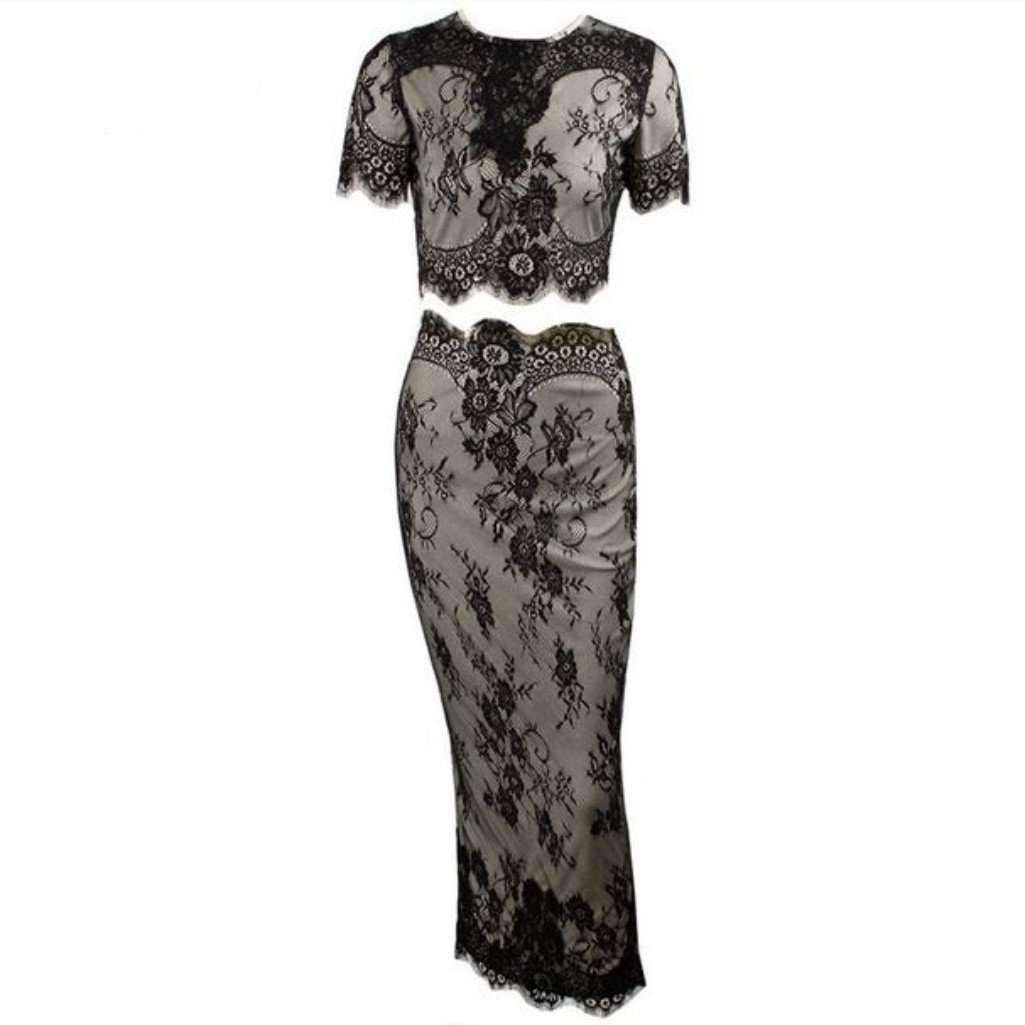 Sy dress for less dress xsmall black nude embroidered lace two piece bodycon dress 1404378841119