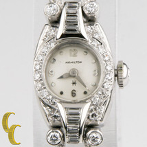 Platinum Diamond Vintage Hamilton Ladies Hand-Winding Watch Safety Chain - $2,134.74