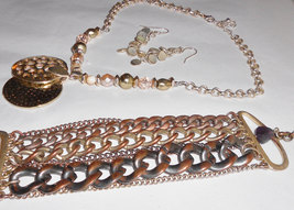 Vintage Kenneth Cole jewelry set, necklace, chunky chain bracelet and da... - $45.00