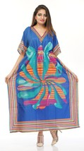 Printed Long Kaftan~Beach Gown~Farasha Caftan~Hippy Blue Dress~Free Size - $12.19