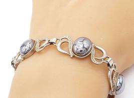 925 Sterling Silver - Vintage Cabochon Cut Hematite Swirl Chain Bracelet... - $56.19