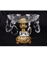 "Vintage Mid Century 8 Crystal Glass Prism Compote Brass Footed Base 7"" - $65.33"