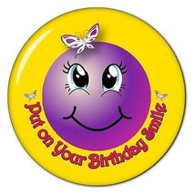 PUT ON YOUR BIRTHDAY SMILEY FACE - RED HAT PURSE MIRROR W/ ORGANZA BAG 3... - $7.91