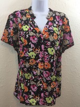 Dana Buchman Shirt Womans Size XL Multi color Floral short sleeves Butto... - $14.99