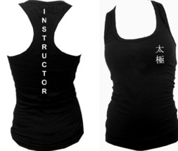 Tai Chi Instructor Chinese Script martial arts black women slim fitted tank top - $14.99