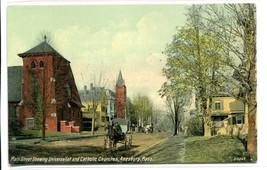 Main Street Universalist Catholic Churches Amesbury Massachusetts 1910c ... - $6.39