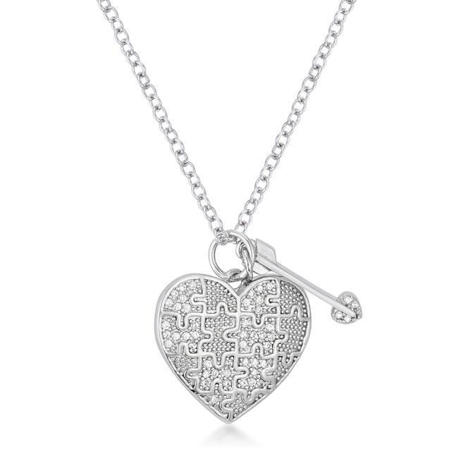 Primary image for .12 Ct Rhodium Heart and Arrow Pendant with Cubic Zirconia