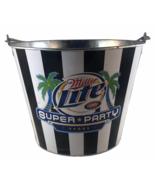 2007 Miller Lite Vegas Super Party Metal Beer Bucket with Wood handle 1.... - $16.90