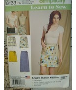 Simplicity 8133 Wrap Skirts 6-18 - Sewing Pattern Learn to See New - $7.50