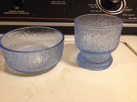 Vintage Rare Blue Indiana Glass Crystal Ice Tree Bark Pattern Cup/Candle... - $37.39