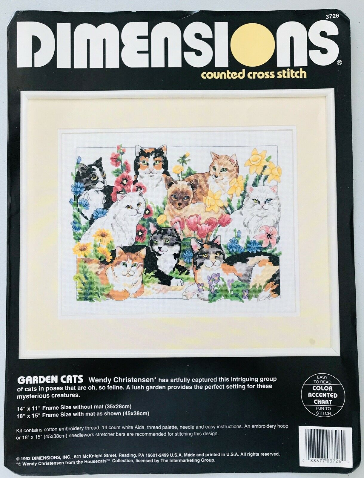 Dimensions Garden Cats Counted Cross Stitch Kit #3726 New but Opened & Unused