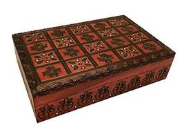 Handmade Wooden Decorative Box Red Hearts & Flowers Polish Linden Wood Keepsake  - $32.99