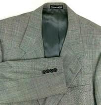 Tom James Sport Coat Size 44 Regular Gray Glen Plaid Two Button 100% Woo... - $49.45