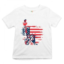 Statue of Liberty Youth T-shirt 4th of July Independence Day US Flag Kids - $13.73+