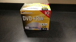 Memorex DVD+RW Recordable Discs 4.7GB  120 Minutes - 10 Pack - New Sealed - $23.95