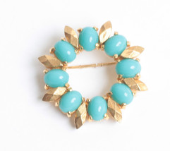 Designer Simulated Turquoise Circle Pin Gold Tone Accents D'Orlan Vintage - $24.00