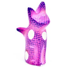 SMOLArt Hand Carved Soapstone Pink Purple Sitting Kitten Cat Figurine Made Kenya