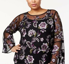 INC International Concepts Plus Size Floral Embroidered Mesh Top, Size 1X - $21.03