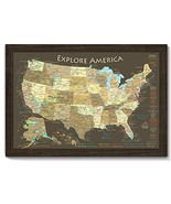 National Parks Map and USA Map - Explore America Map - Large Framed Push... - $198.60