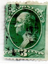 Scott    #147 -  1870 3c Washington, green Used Postage stamp - $2.99