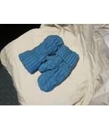 Handmade Recycled Wool Fleece Lined Mittens Teal Ribbed Ladies/Teens Siz... - $11.88