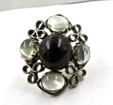 FINEST  NATURAL BLACK APATITE & MOONSTONE GEMSTONE 925 SILVER RING - $85.50