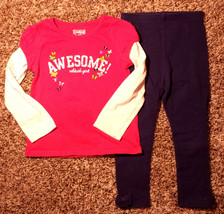 Girl's Size 3T 3T Years 2 Pc Pink OKB Awesome Butterfly L/S Top & Navy L... - $7.00