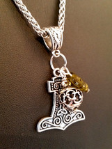 Silver Viking Charm Thor's Hammer Necklace Pendant Green Glass Leaf  - $25.00