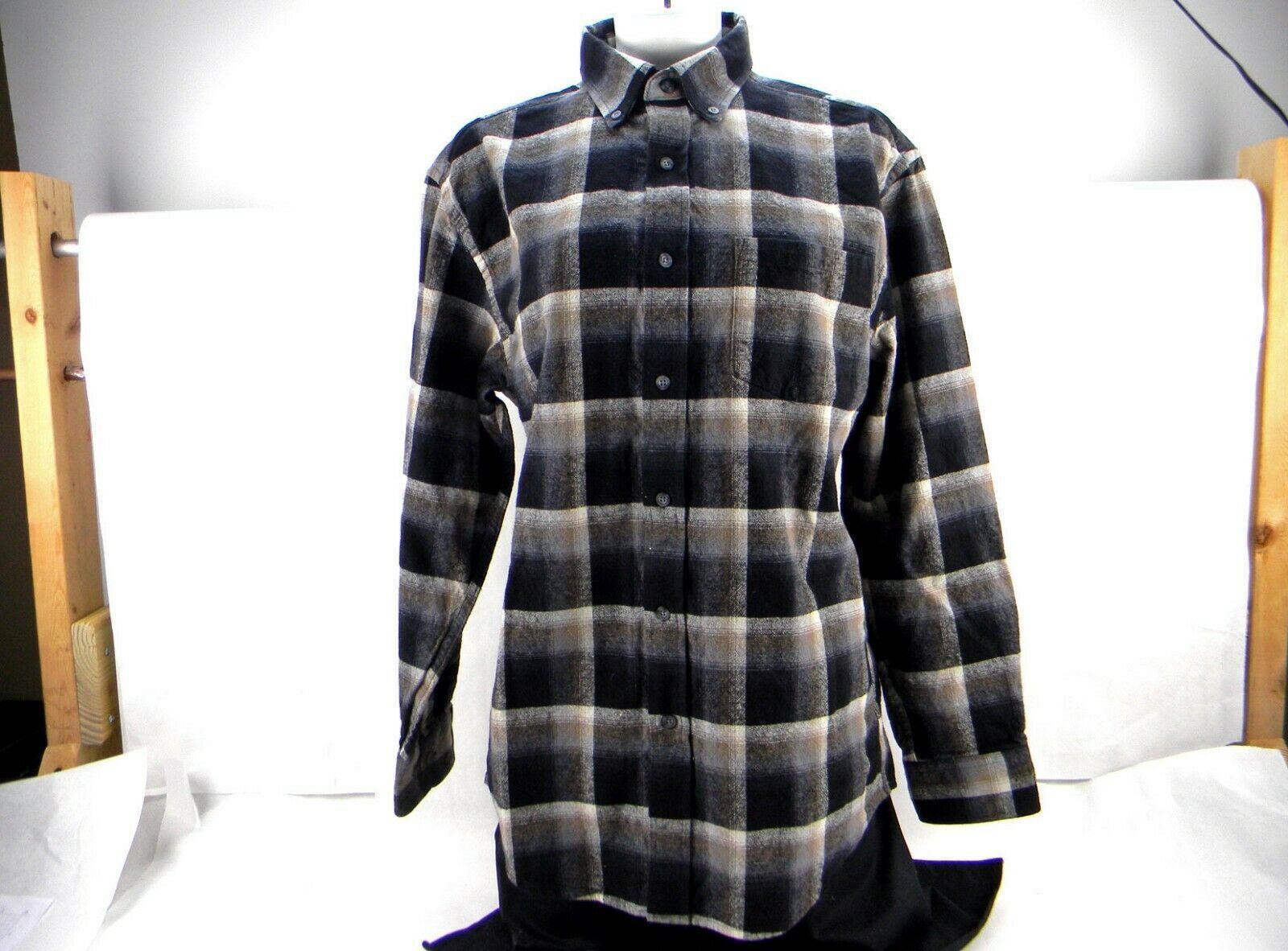 New Pendleton Mason Black Brown Ombre Plaid Long Sleeve Flannel Men's M Shirt