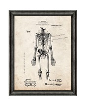 Anatomical Skeleton Patent Print Old Look with Black Wood Frame - $24.95+