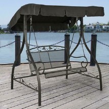 Modern 2 Person Outdoor Canopy Porch Swing Jefferson Wrought Iron High Q... - $148.41