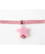 Pink Lace Choker with Star Pendant, Pastel Goth, Kawaii Jewelry, Gatumi - $9.00