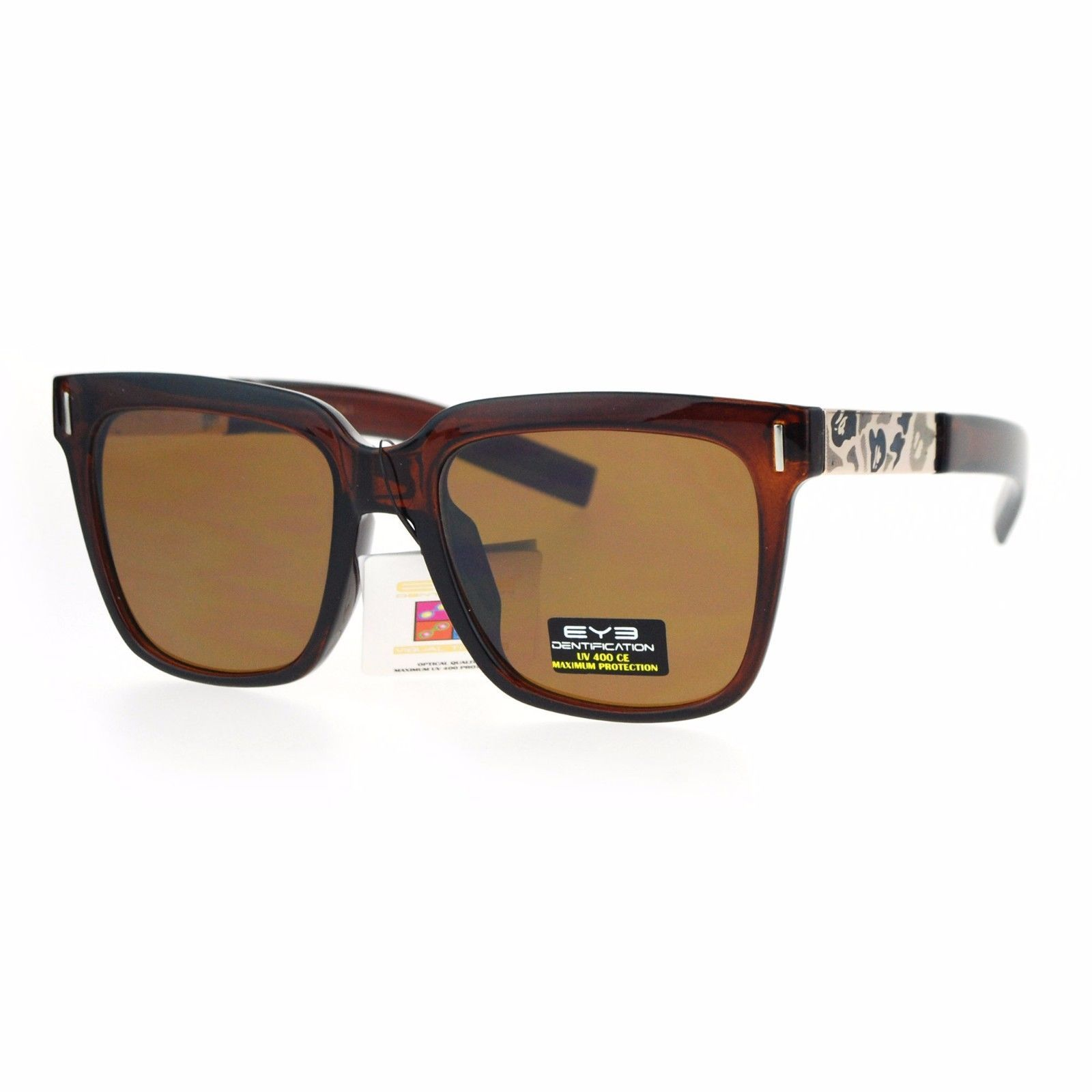 Unisex Square Frame Sunglasses Camo Design Metal Plate Temple UV 400